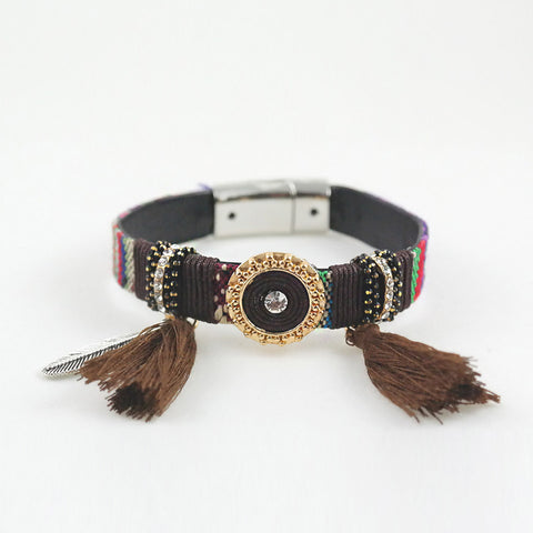 sophari | Gypsy Handmade Magnetic Tassel Bracelet Cuff in coffee brown