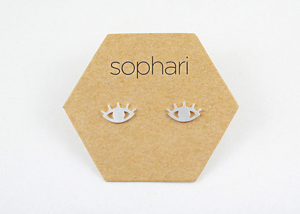 sophari | Mati Evil Eye Stud Earrings in silver or 18k gold plated