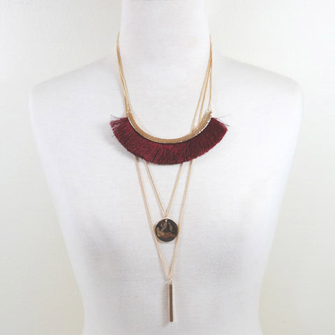 sophari | Wide Fringed Multi Chain Necklace in Burgundy Red