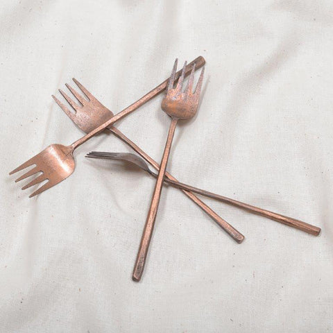 123home | Copper Metal Hammered Tapas Fork