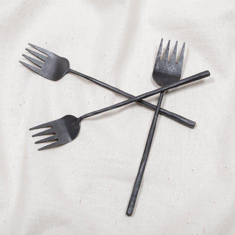 123home | Black Burnished Metal Hammered Tapas Fork
