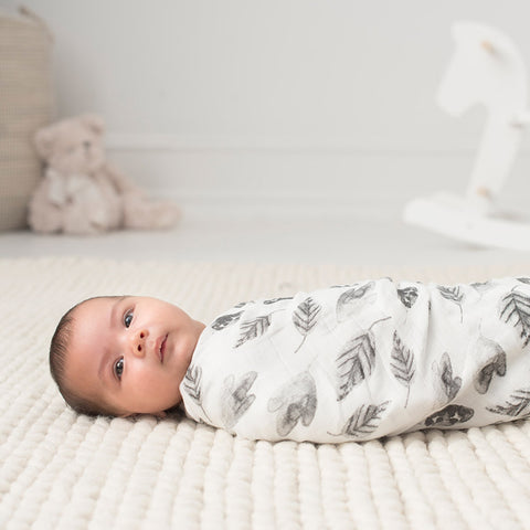 aden + anais | Silky Soft Swaddle Single White Label in Foragers Leaves