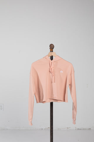 Cropped Fleece Hoodie - Peach