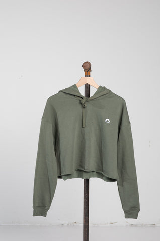 Cropped Fleece Hoodie - Military Green
