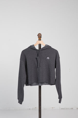 Cropped Fleece Hoodie - Dark Grey Heather