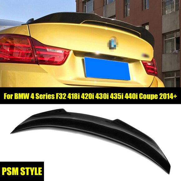 PSM Style Carbon Fiber Trunk Spoiler Wing For 2014-2019 BMW F32 4-Series Coupe 2Dr Only