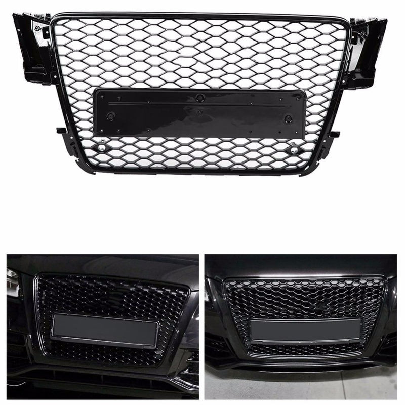 For Audi A5 B8 8T S5 RS Mesh Honeycomb Badged Sport Front Tuning Grill Glossy