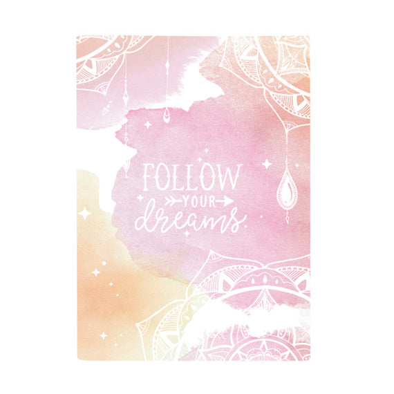 Harper Bee Book Cover A4 - Boho Watercolour Peach Dreamcatcher