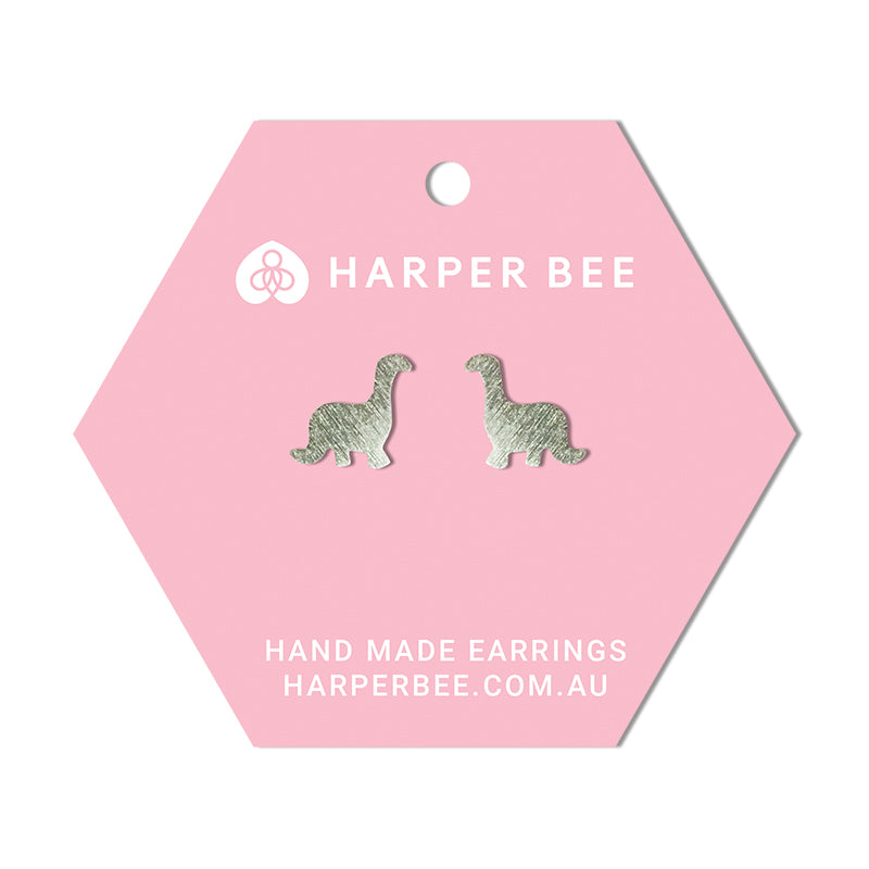 Harper Bee Earrings - Silver Dinosaur