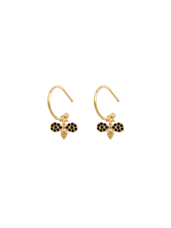 Gold Mini Crystal Bee Hoops