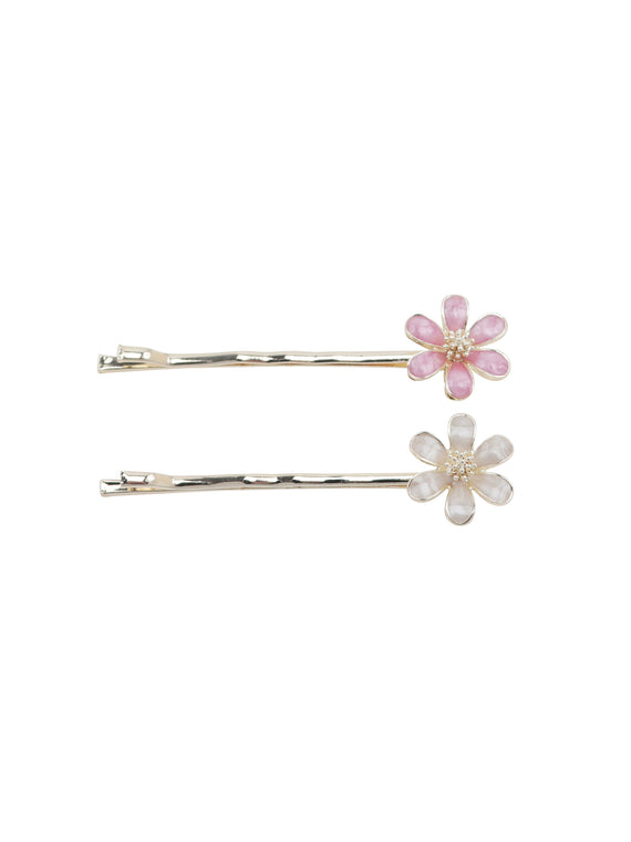 Hair Clips - Pink and Cream Wildflowers