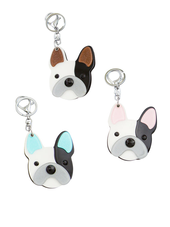 Pink Dog Mirror Key Ring
