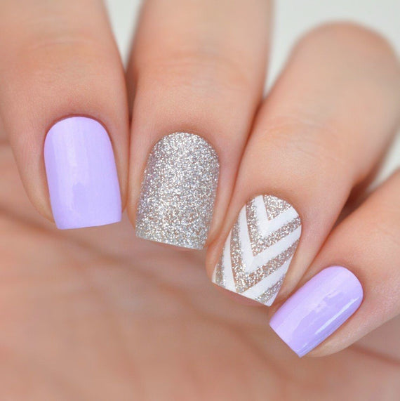 Nail Wraps - Purple & Silver