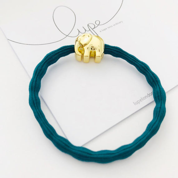 Lupe Hair Bracelet - Elephant Teal Gold