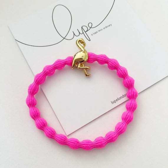 Lupe Hair Bracelet - Flamingo Neon Pink Gold