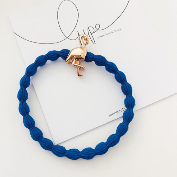Lupe Hair Bracelet - Flamingo Blue Rose Gold