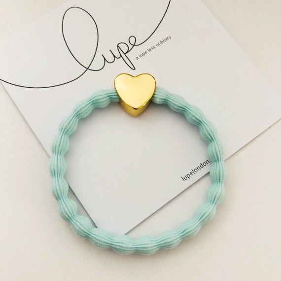 Lupe Hair Bracelet - Heart Aqua Gold