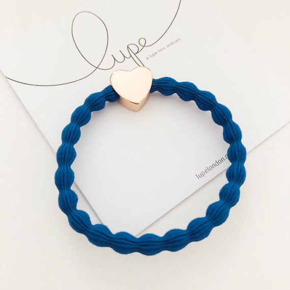 Lupe Hair Bracelet - Heart Blue Rose Gold