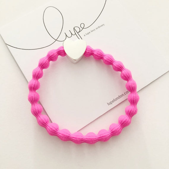 Lupe Hair Bracelet - Heart Neon Pink Silver