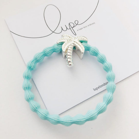 Lupe Hair Bracelet - Palm Tree Aqua Silver