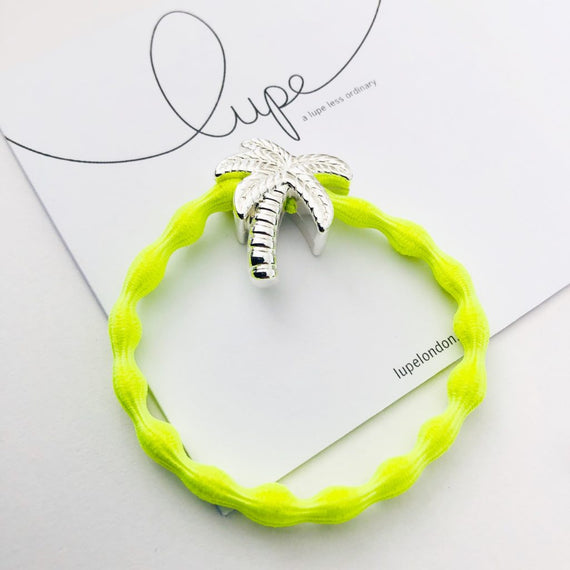 Lupe Hair Bracelet - Palm Tree Neon Lime Silver