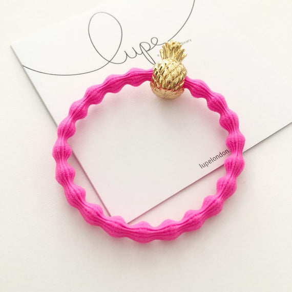 Lupe Hair Bracelet - Pineapple Neon Pink Gold
