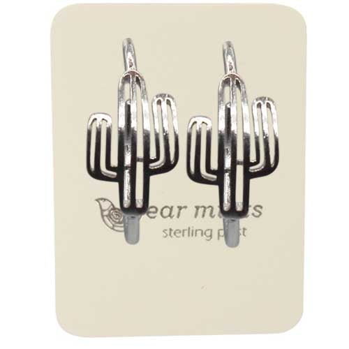 Fabienne - Brushed Cactus Hoop Earrings - Silver