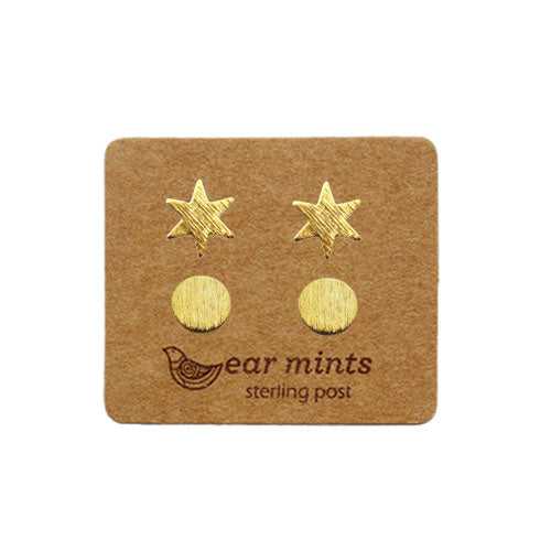 Fabienne - Star and Circle Set of 2 Earrings - Gold