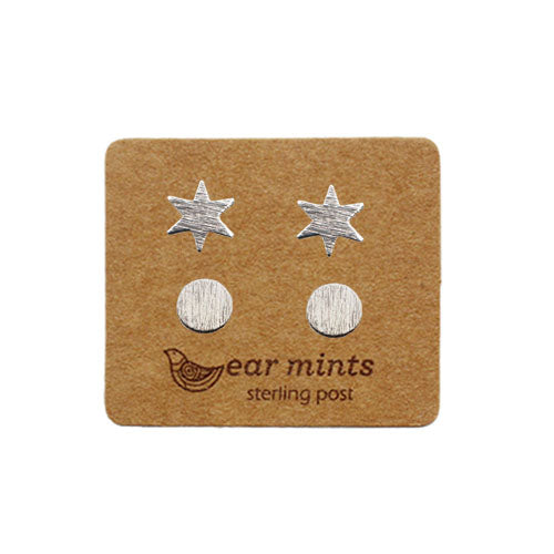 Fabienne - Star and Circle Set of 2 Earrings - Silver