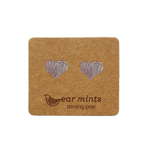 Fabienne - Brushed Cute Heart Earrings - Silver