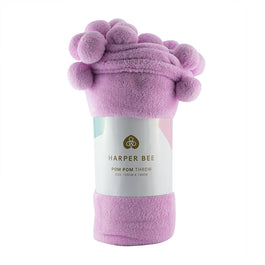 Harper Bee Pom Pom Throw - Lilac/Pink