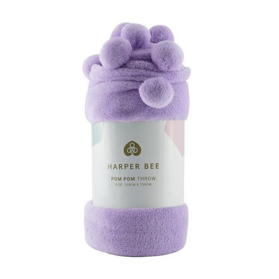 Harper Bee Pom Pom Throw - Blueberry Smoothie