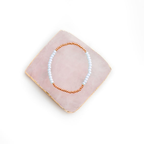 Bracelet - Rose Gold and Aqua Crystal Bracelet