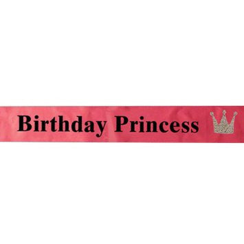 Pink Birthday Princess Sash