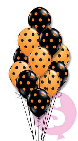 Orange & Black Polka Dots Latex Bouquet