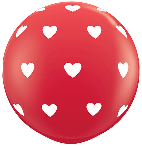 "Balloon:  Heart Printed 36"" Latex Balloon"