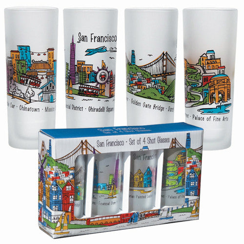 San Francisco:  Whimsical Set of 4 Shot Glasses