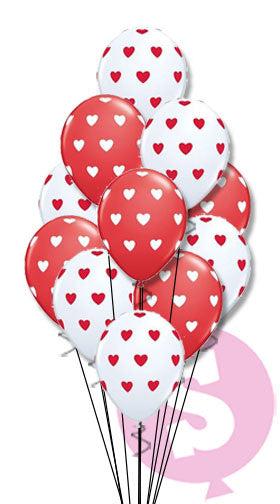 Heart Polka Dot Latex Balloons
