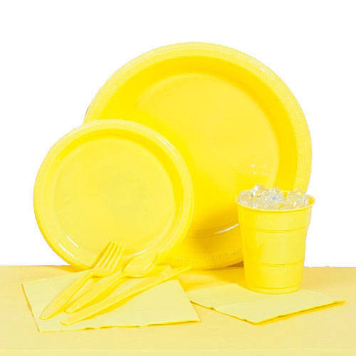 Tableware:  Yellow Party Pack