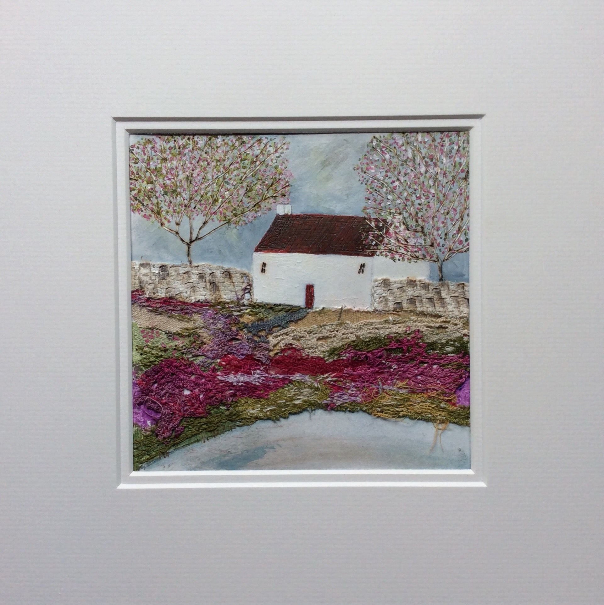 "Mixed Media Art By Louise O'Hara ""Old wall cottage"""