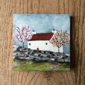 "Mixed Media Art on wood By Louise O'Hara - ""The Cottage nestled between the cherry blossoms"""