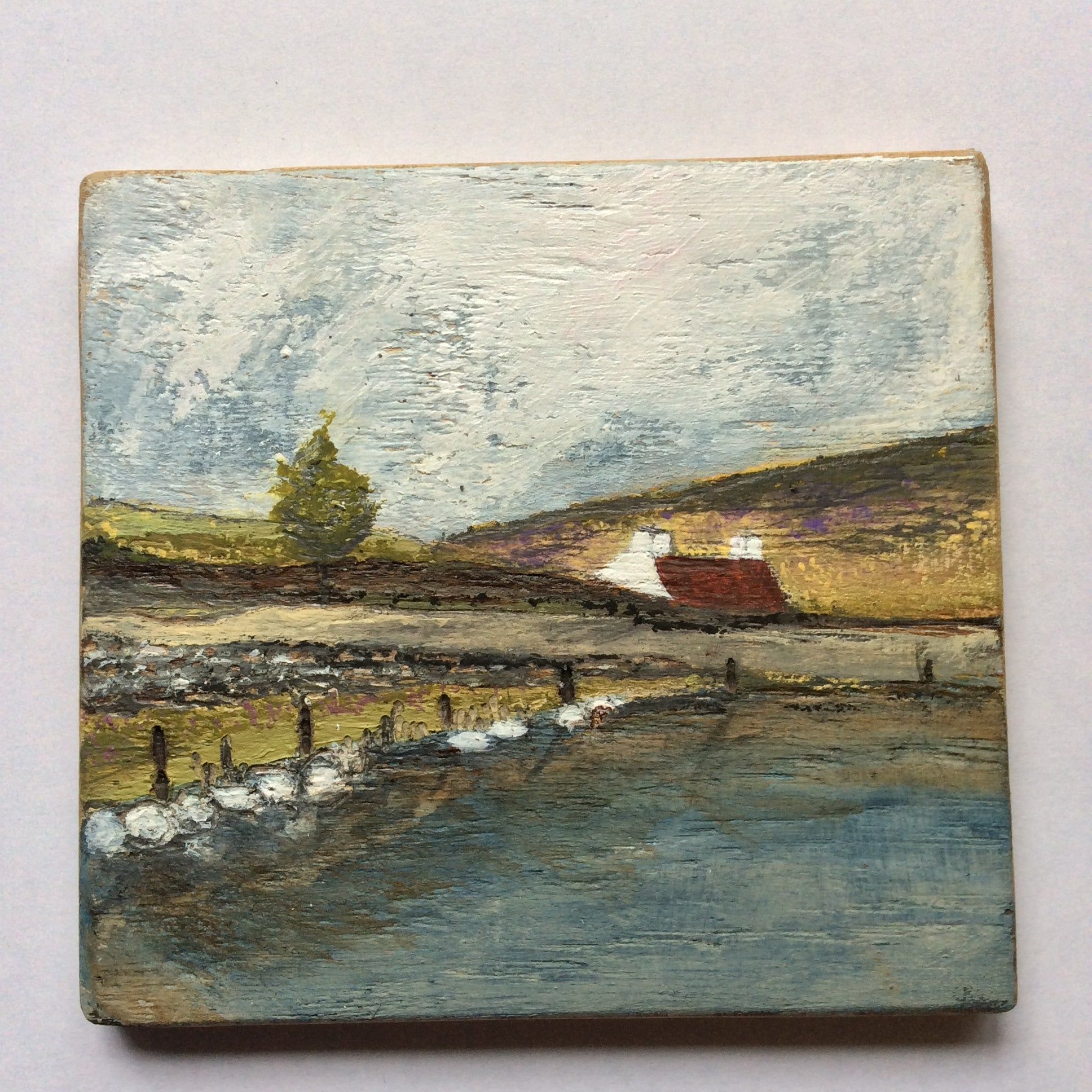 "Mixed Media Art on wood By Louise O'Hara - ""Stepping stones Along the Tarn"""