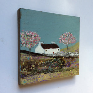 "Mini Mixed Media Art on wood By Louise O'Hara - ""A mid summer meadow"""