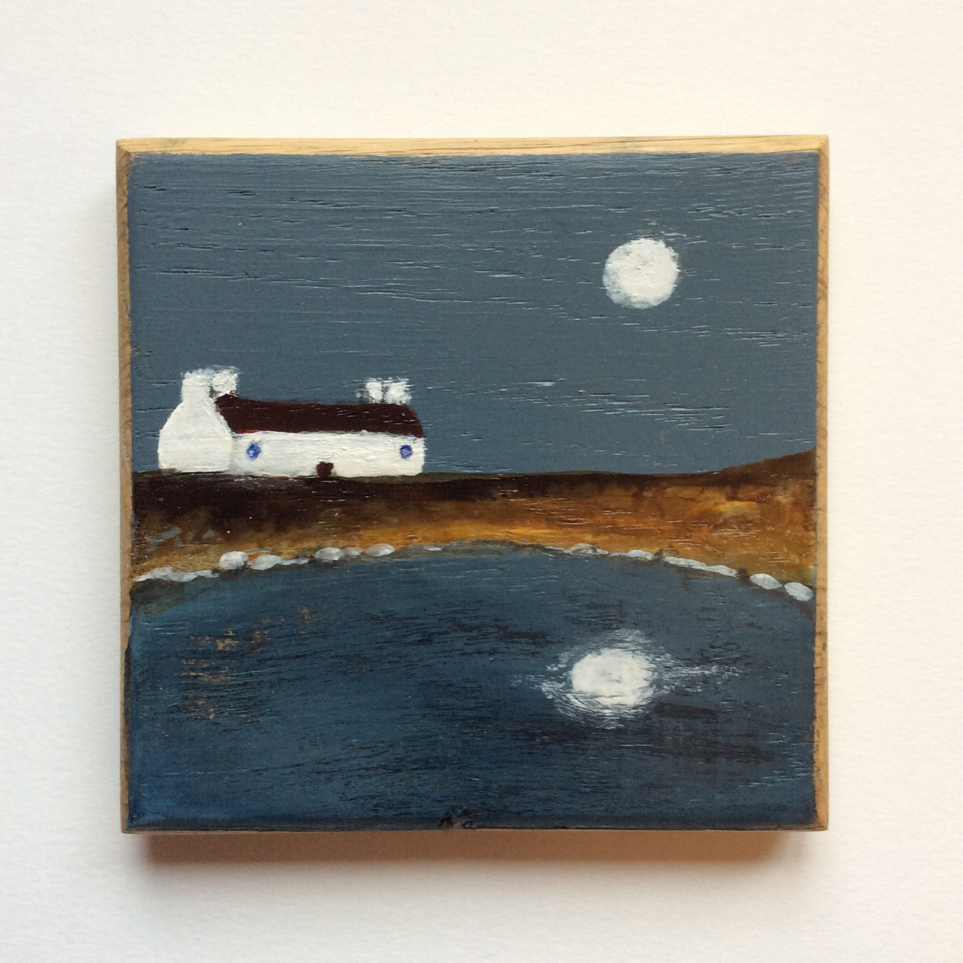 "Mini Mixed Media Art on wood By Louise O'Hara - ""Lit by the Wolf Moon"""