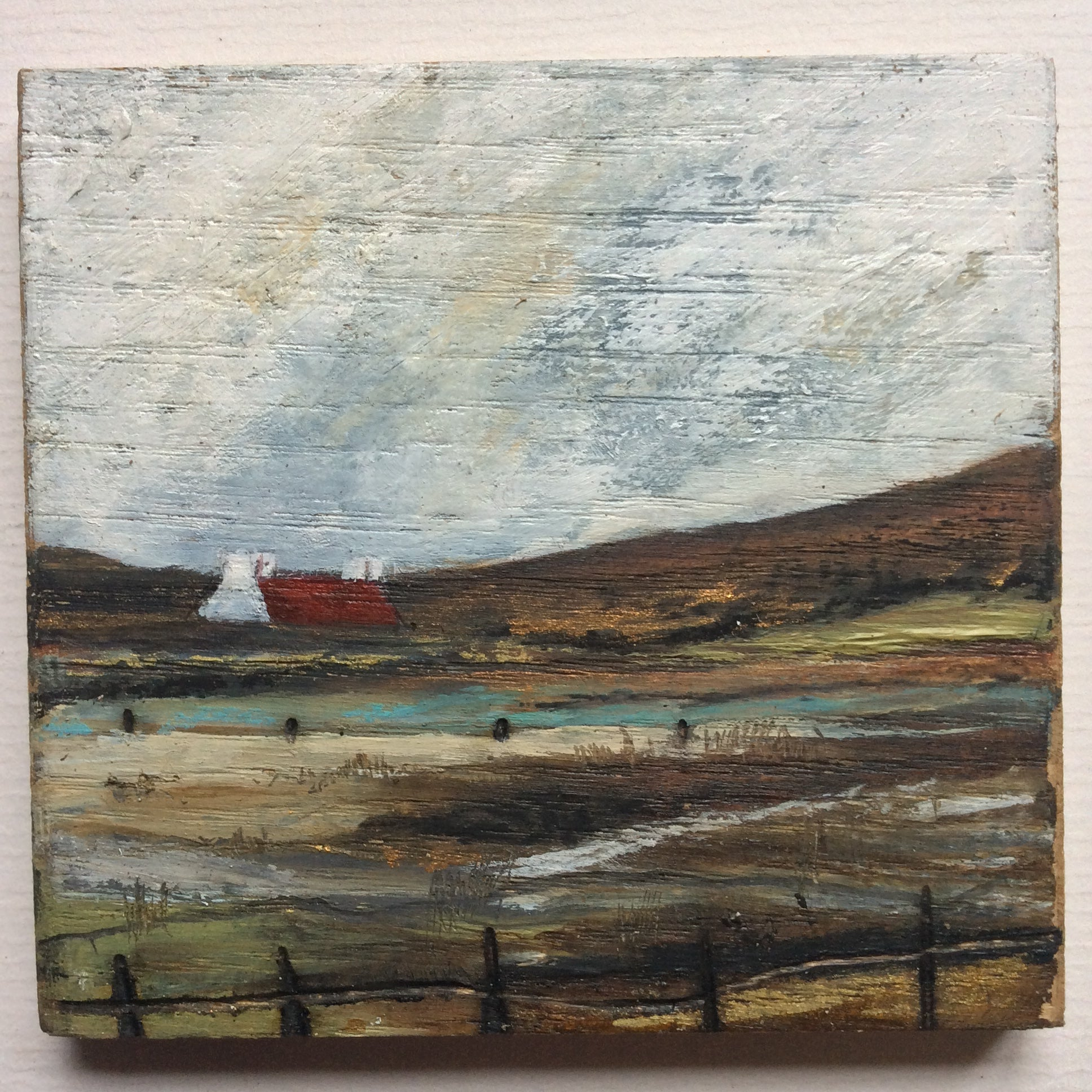 "Mixed Media Art on wood By Louise O'Hara - ""A wee Tarn"""