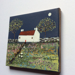 "Mixed Media Art on wood By Louise O'Hara - ""Along the path at moonlight"""