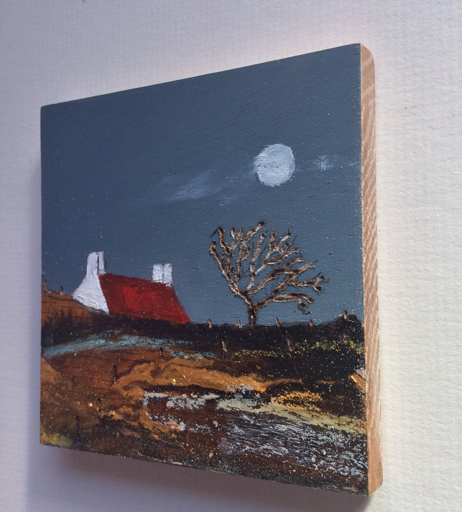 "Mini Mixed Media Art on wood By Louise O'Hara - ""Along the path to The old rugged tree"""