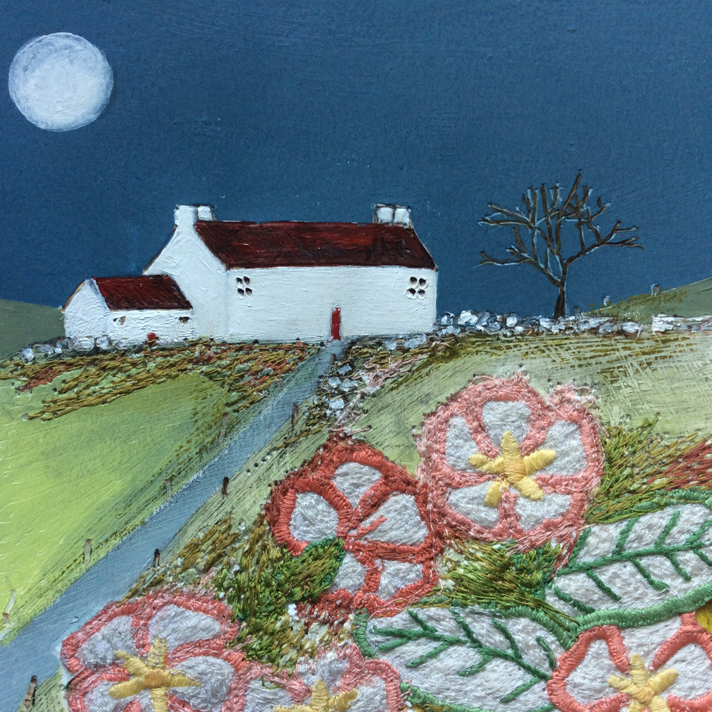 "Mixed Media Art By Louise O'Hara - ""The tree looks magical by the light of the moon"""