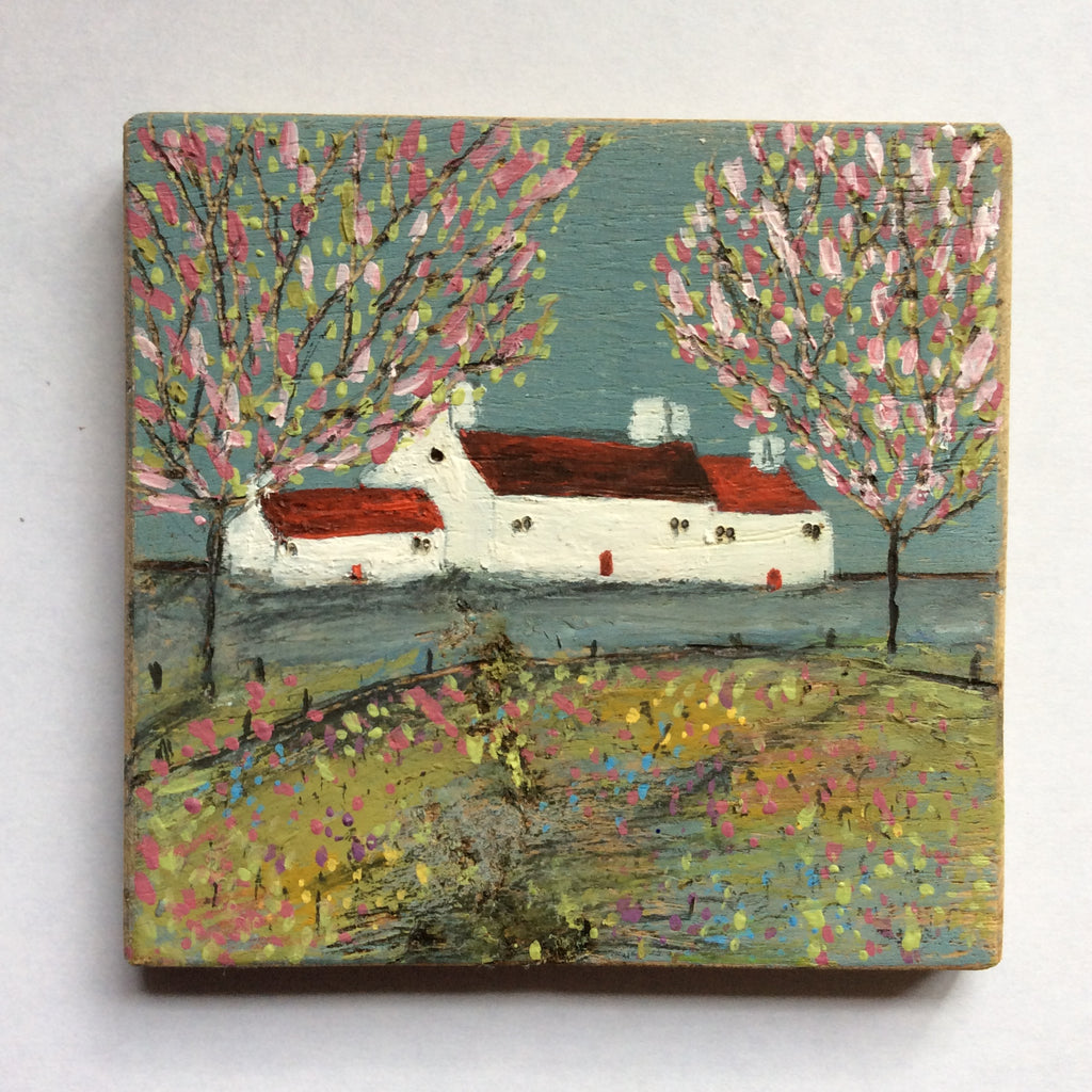 "Mini Mixed Media Art on wood By Louise O'Hara - ""Magnolia"""