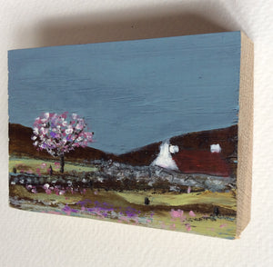 "Miniature Mixed Media Art on wood By Louise O'Hara - ""Spring blossom"""